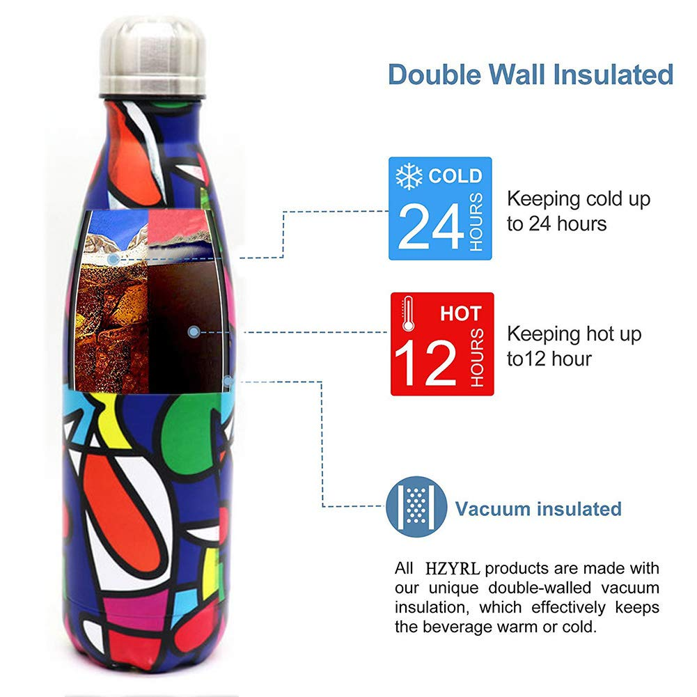 Cepillo de Limpieza Gratis HZYRL Botellas Agua Acero Inoxidable 500 ml,Aislamiento de vac/ío de Doble Pared Termo Botella de Agua aislada Reutilizable sin BPA