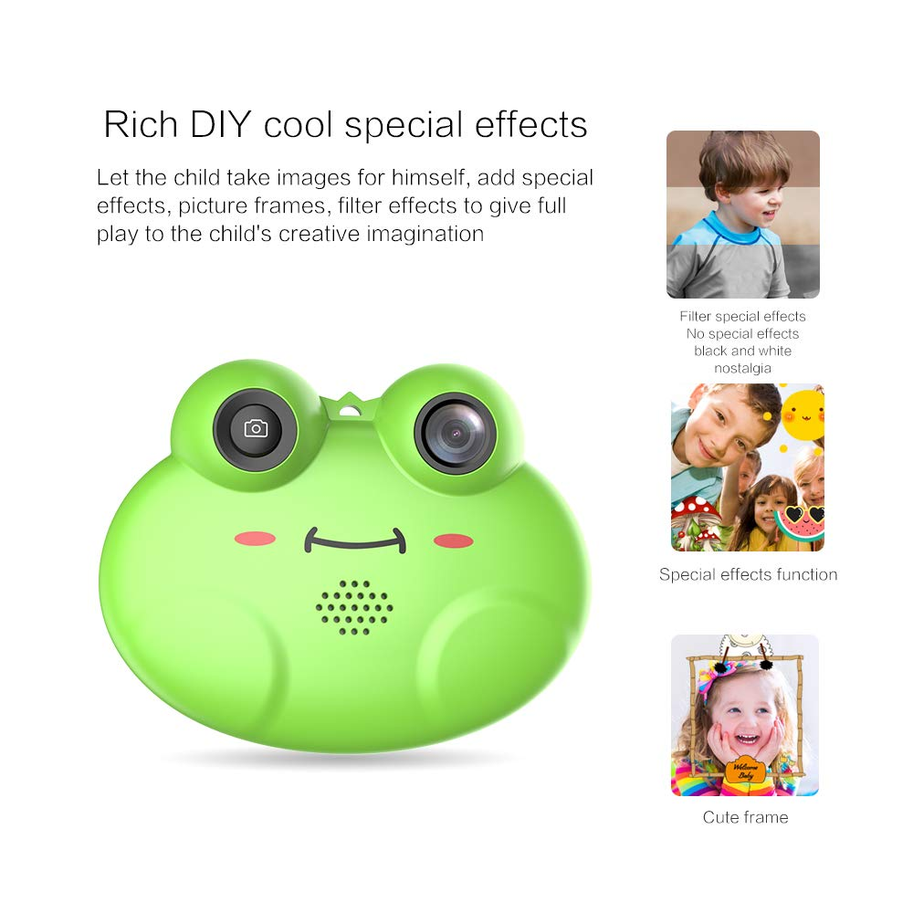 GordVE Digital Camera for Kids, Cute Cartoon Frog Design Portable Compact Anti-Shake Rechargeable with Games DIY Video Effects Kids Camera, 8X Digital Zoom Camera Flash Mic for Girls/Boy by GordVE (Image #8)