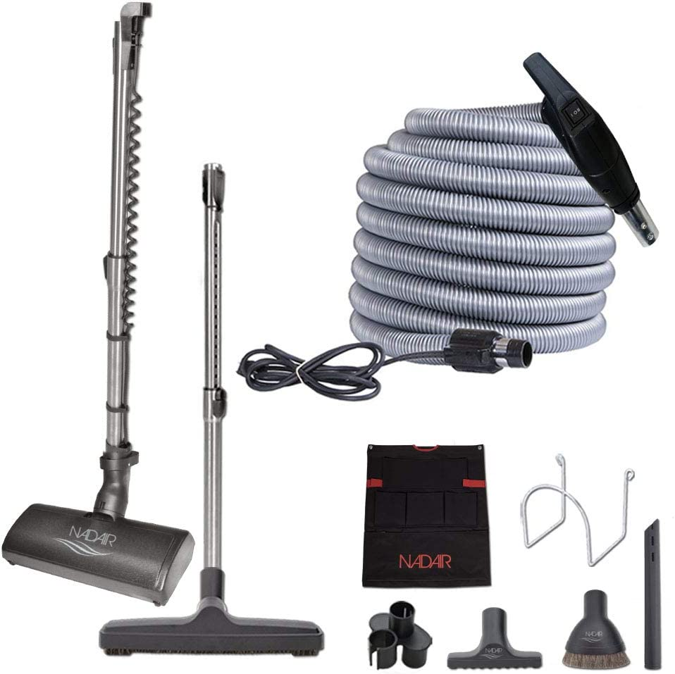 """Nadair Central Vacuum kit, with 35ft High-Voltage Hose with Pigtail, On-Off Switch at The Handle Electrical Slim Profile Carpet Beater, 12"""" Floor Brush and Accessories Included, Black and Grey"""