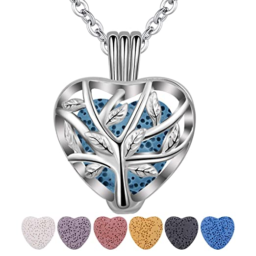 INFUSEU Tree of Life Essential Oil Diffuser Necklace with 7 Pcs Heart Shaped Lava Rock Stone Beads for Women Aromatherapy Jewelry