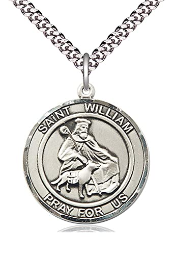 0be424181b1 Image Unavailable. Image not available for. Color: Pewter St. William of  Rochester Pendant 24 Inch Light Rhodium Heavy Curb Chain Patron Saint