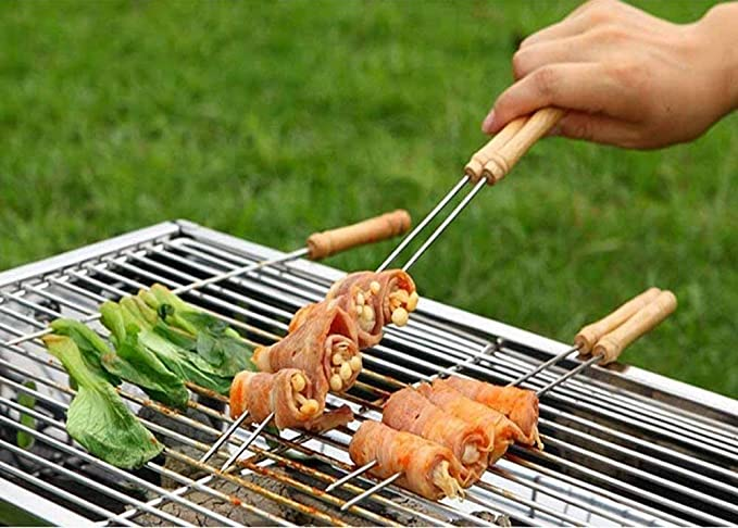 HIPO Premium Quality Multipurpose Barbecue Skewers for BBQ Tandoor and Grill, Tandoori BBQ Stick, Indoor/Outdoor BBQ Stick, Stainless Steel Stick with Wooden Handle (2)