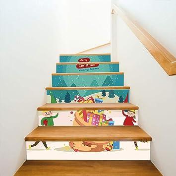 Hndrkj Pegatinas Escalera Vinilos Decorativos Decorativos De Navidad Escaleras De Duende Navideño Decorativos Adhesivos De Pared 100X18Cmx6: Amazon.es: Bricolaje y herramientas