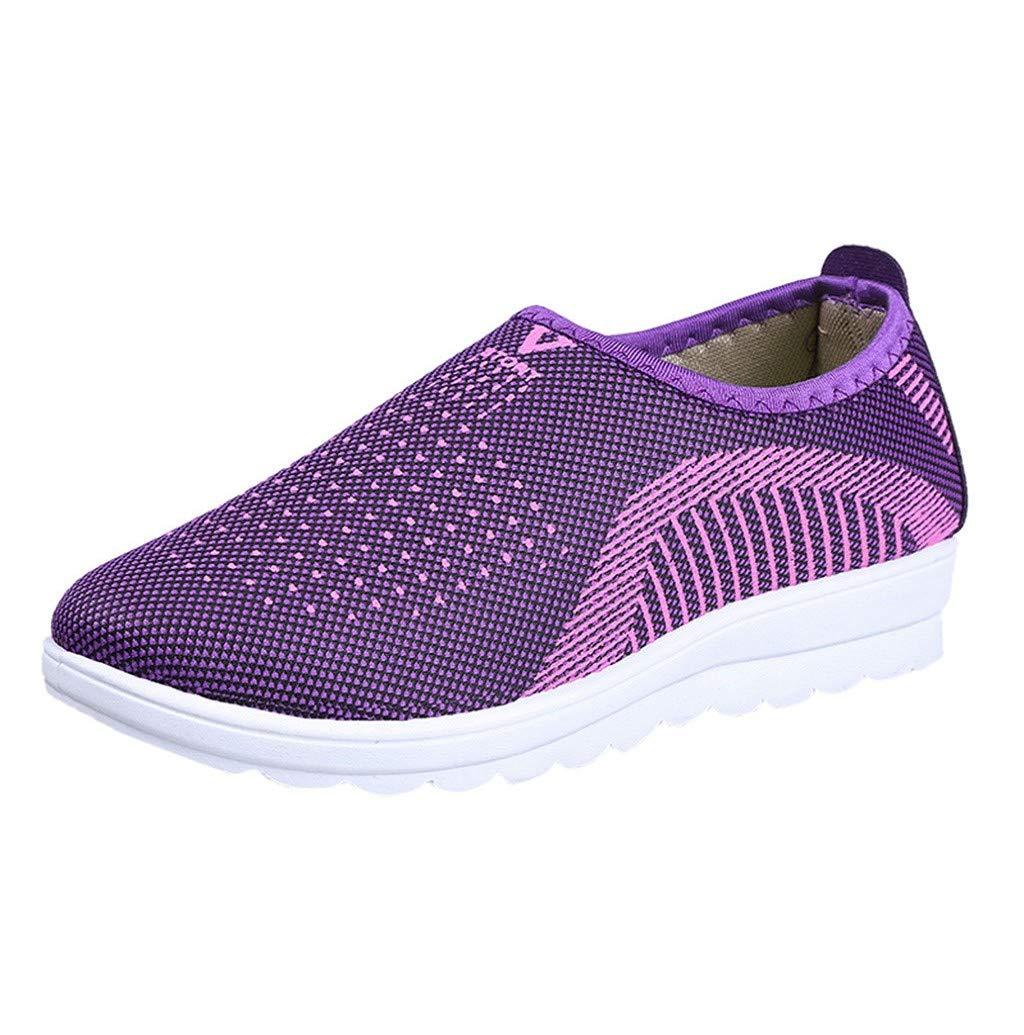 Women's Flat Mesh Ultra Lightweight Sneakers Slip-On Walking Stripe Loafers Shoes JHKUNO Purple