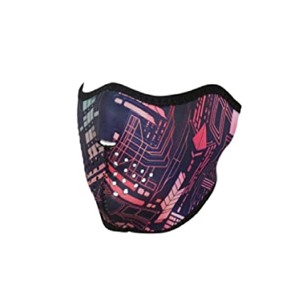 Pink Blue Black Purple Red Neon Circuit Cyborg Robot A I Mechanical Computer Electric Skull Reversible to
