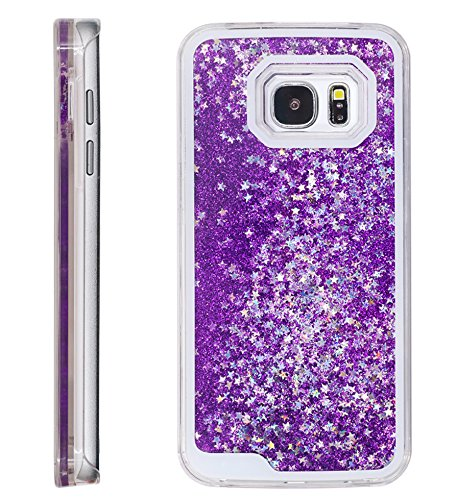 S7 Case , BLLQ Funy Flowing Quicksand Stars Liquid Shiny Bling Glitter Sparkle Transparent Crystal Clear Hard PC Cover Case for Sumsung Galaxy S7 (SM- G930F )( S7 Bling purple )