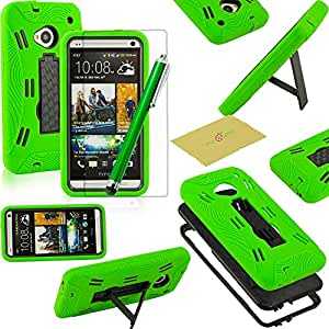 Fulland Stylish Hybrid ArmorHard Case and Silicone Skin kickstand for HTC One M7 Plus Stylus Pen and Screen Protector -Green/Black