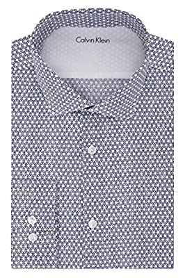 Calvin Klein Men's Stretch Xtreme Slim Fit Circle Print Spread Collar Dress Shirt