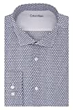 "Image of Calvin Klein Men's Stretch Xtreme Slim Fit Circle Print Spread Collar Dress Shirt, New Navy, 14""-14.5"" Neck 32""-33"" Sleeve"