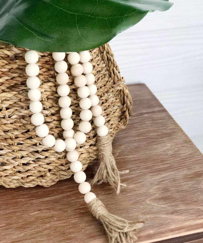 Fitlyiee Wall Hanging Wood Bead Garland with Tassels Rustic Country Wedding Decor Natural Ornament 1 Pack