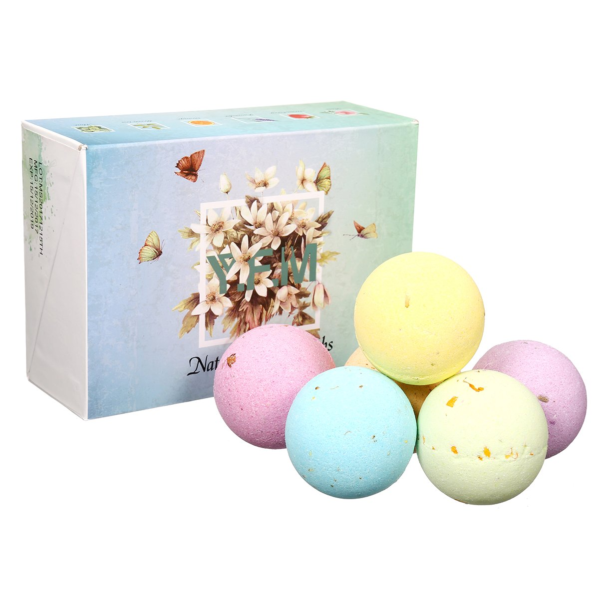 Bath Bomb Gift Set, Y.F.M. 6 Pcs x 60g Handmade Spa Fizzing Mild Natural Essential Oils Bath Sets, Moisturizing Dry Skin Relaxation, Best Christmas/New Year Gift for Women/Men/Children