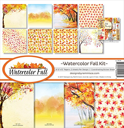 - Reminisce Watercolor Fall Scrapbook Collection Kit
