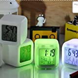 BUYERZONE 7 Colour Plastic Changing LED Digital Alarm Clock with Date, Time, Temperature for Office and Bedroom, Small