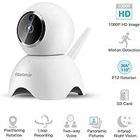 1080P Überwachungskamera, Full HD WLAN IP Kamera mit Nachtsicht, Zwei-Wege Audio,Sicherheitskamera Home für Haustier/Baby Monitor, Weiß