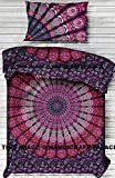 Mandala Duvet Cover Twin Indian Quilt Cover Cotton Throw Doona Cover With Pillow , 52x80 Inch Cotton Handmade Bohemian By ''Handicraft-Palace'' Peacock Mandala Ethnic Art Bedding