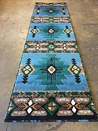 Southwest Native American Runner Area Rug Blue...