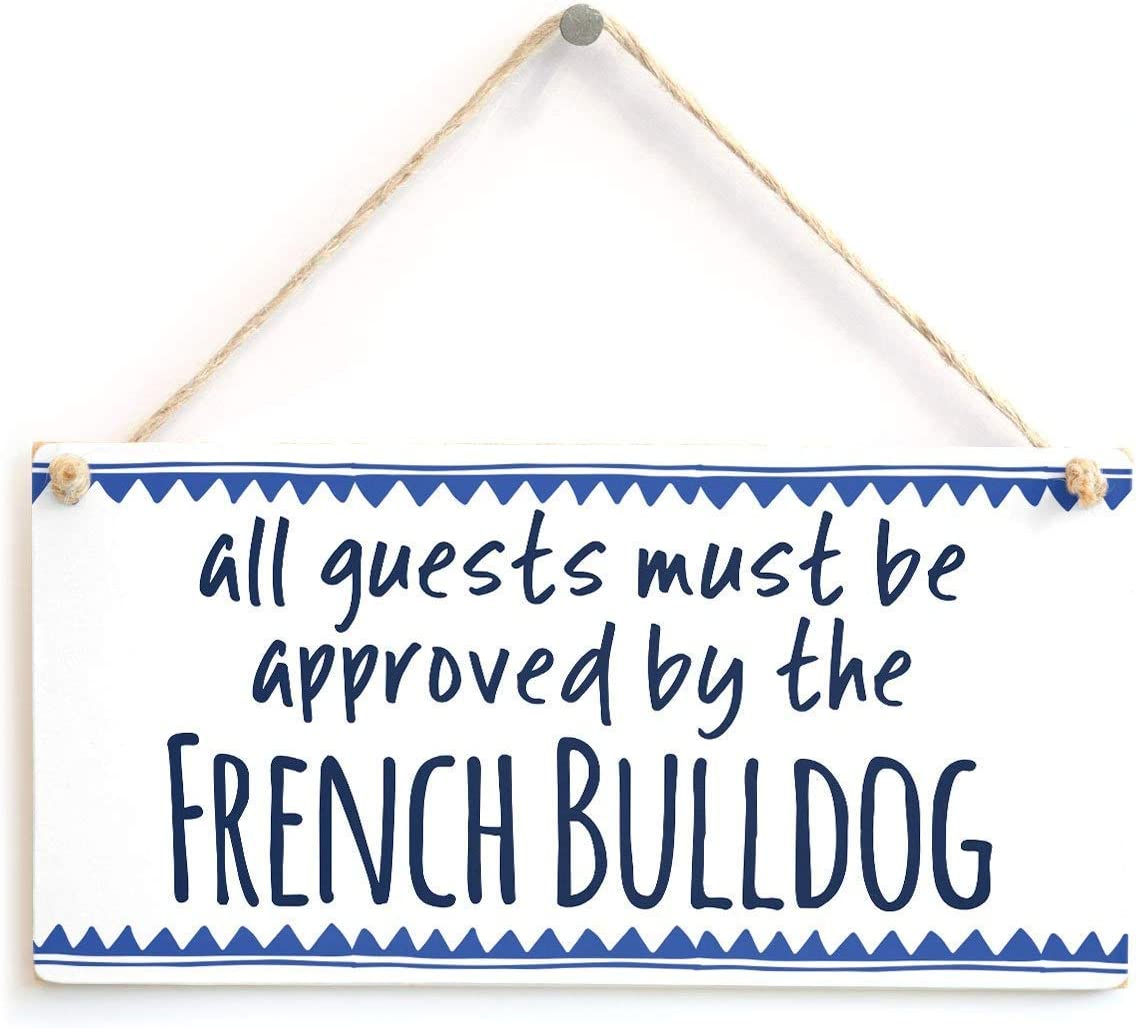 SENMIYX French Bulldog Wooden Wall Sign Wood Flower Name Plaque Vintage Family Hanging Decor Bathroom Kitchen Welcome Bar Cafe Bedroom Hotel