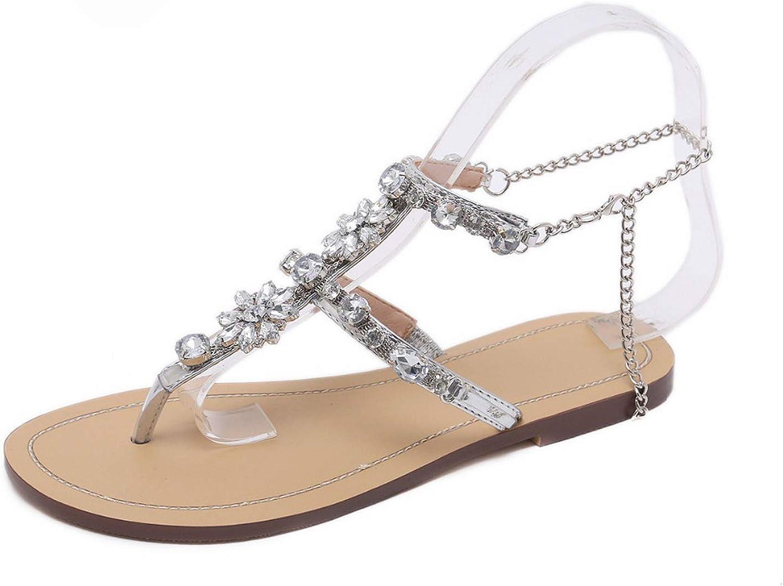 6 Color Woman Sandals Women Shoes Chains Gladiator Flat Sandals Plus Size 46