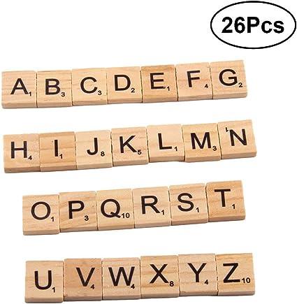 BESTOYARD Due-Home 26 pcs Madera Letra Azulejos Craft Scrabble Letras Letras baldosas para niños SILENCIOSO y Patchwork Scrapbooking: Amazon.es: Hogar