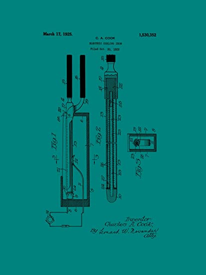 Framable Patent Art Original Curling Iron Womens Salon 18in by 24in Patent Art Poster Print Teal PAPSP193T