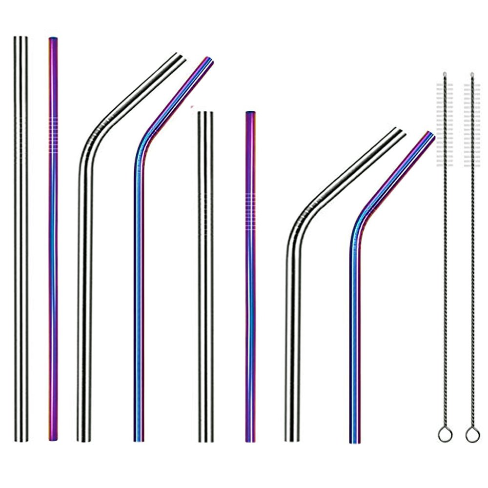 Stainless Steel Straws Wide Reusable Drinking Metal Straws for 30oz 20oz Tumbler length 10.5'' 8.5'' Diameter 0.24'' 0.35'' with Cleaning Brush and Carry Bag(2 Color 4 Size)