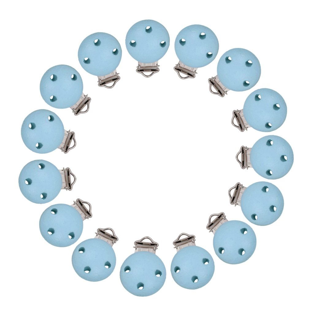 P Prettyia 15pcs Clip del Ciuccio Prima Infanzia Supporto Succhietti BPA Free Catenelle Porta Succhietto - Blu, Taglia unica