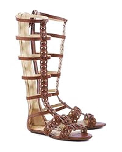 9429a2fcf32 SCHUTZ Rella Suflair Brown Braided Leather Flat Knee High Gladiator Sandals  (5.5)