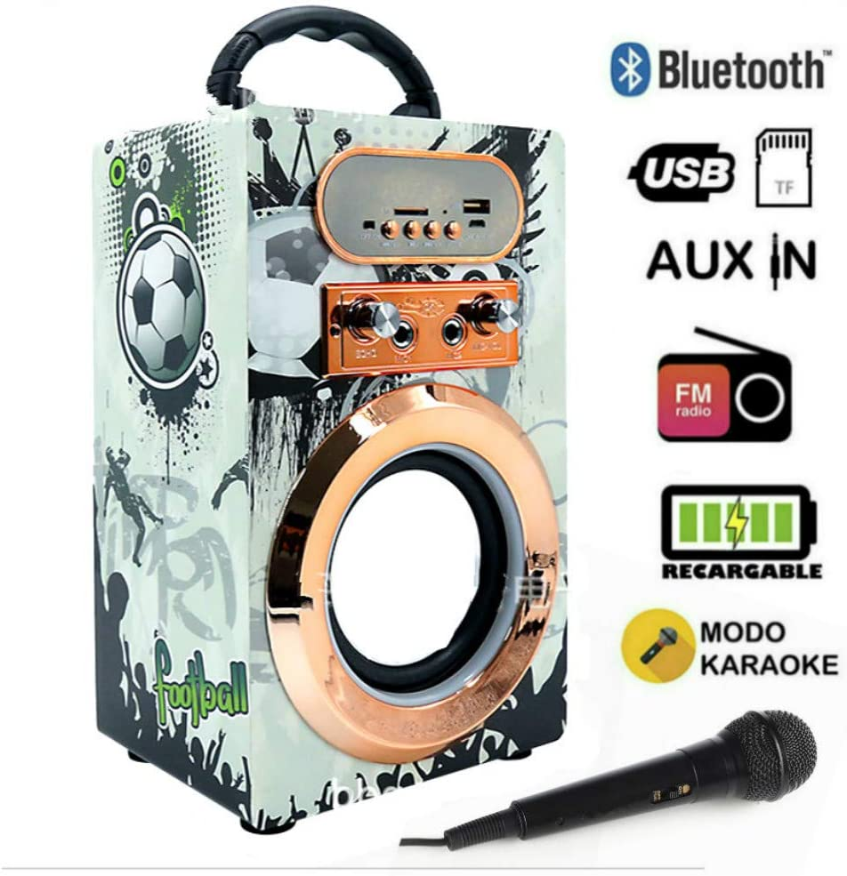 Altavoz Karaoke con Micrófono Altavoz Bluetooth Karaoke con microfono potente reproductor Inalámbrico portátil Radio FM MP5 USB TF Card Recargable (03-Futbol)