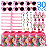 CoocleApril 30PCs Unicorn Party Favors Girl Gift Bags Glasses Keychains Bracelets Blowouts Party Gifts for Kids Girls