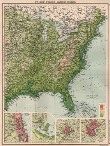 Philadelphia On The Us Map.Amazon Com Usa East Relief Inset Chicago Niagara Falls Saint