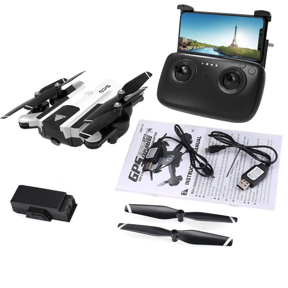 Drones avec Camera HD Drones GPS Adulte Drone Pliable, Comportant UN Objectif Grand Angle 1080P, Transmission d'Images en Temps Réel Wifi FPV, Contrôle App, Fonctions de Positionnement GPS Blanche