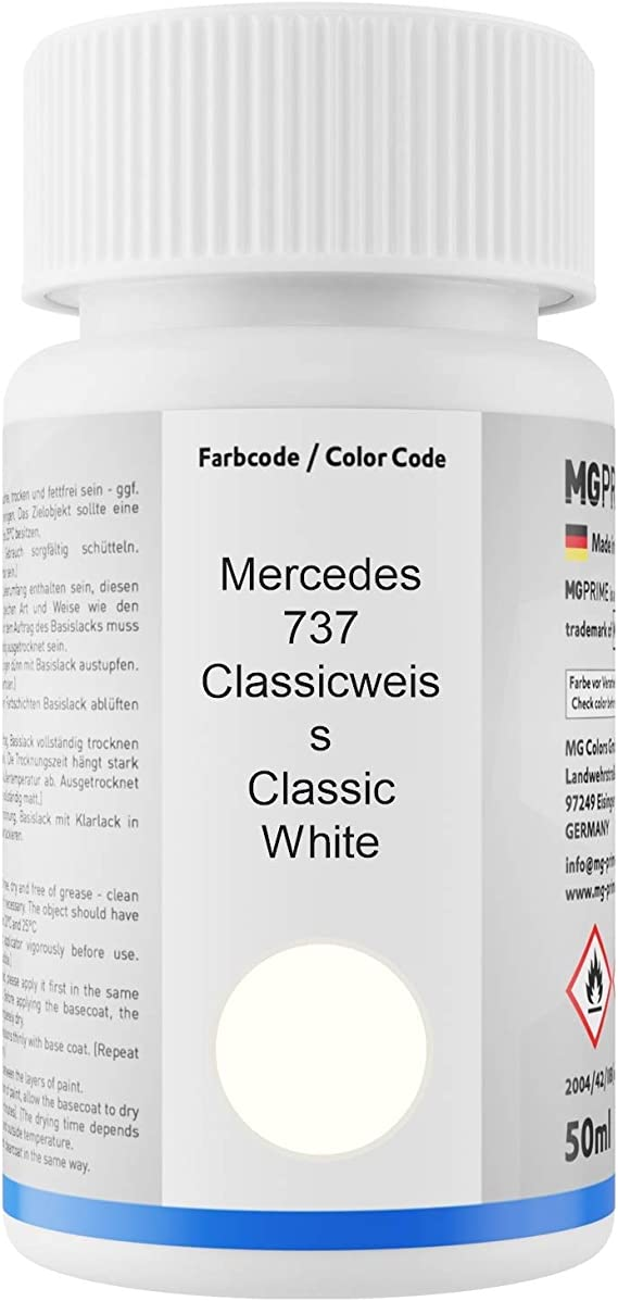 Mg Prime Autolack Lackstift Set Für Mercedes 737 Classicweiss Classic White Basislack Klarlack Je 50ml Auto