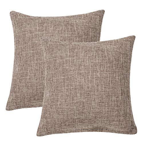 ALHXF Pillow Cover 2 Pack Burlap Linen Throw 22