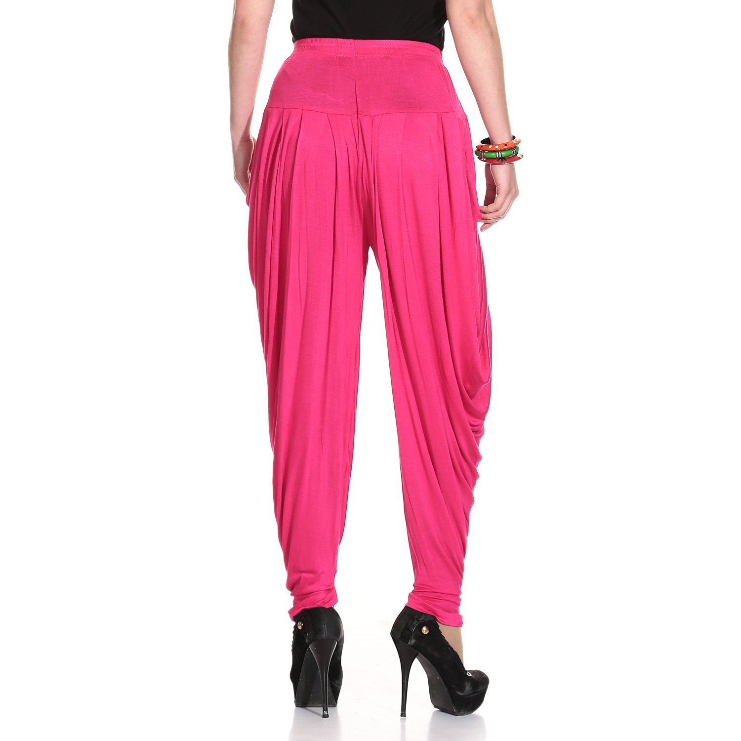 Ardour Dark Pink Relaxed Comfortable Cotton Blend Belly Dance Pants for Women- Free Size by Ardour (Image #3)