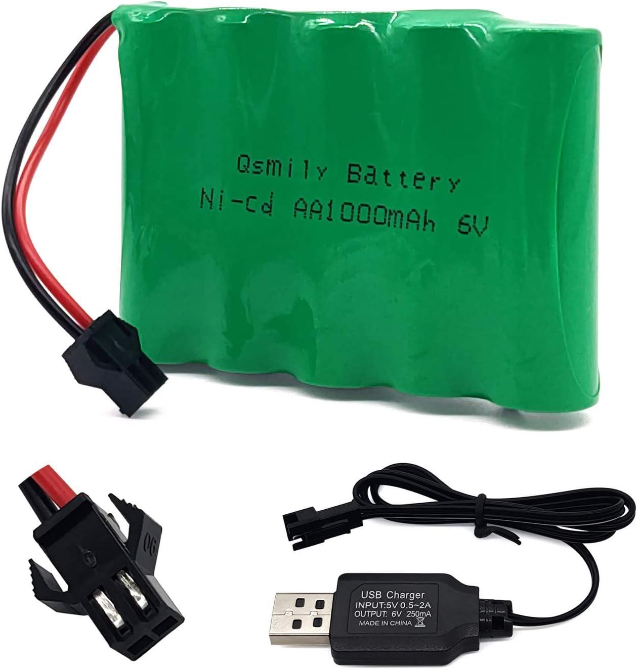 Bateria AA 6V 1000 mah conector SM  + cargador USB