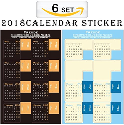 2018 Monthly Planner Calendar Stickers,Monthly Index Dividers,Self Adhesive Tabs for Bullet Journal Stickers.Easy to Peel and Achieve Your Goals(6SET/PACK) (2018 Stickers)