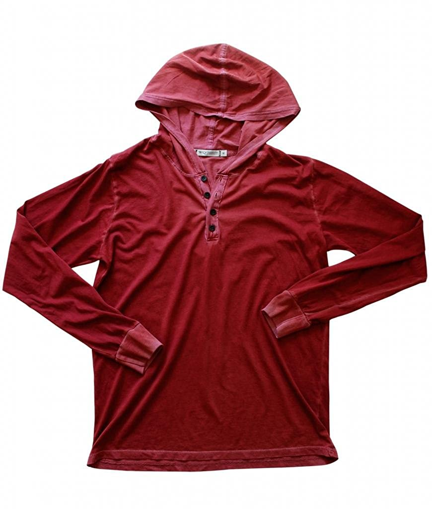 Wicked Quick Lightweight Jersey Henley Hoodie-Red Cruise-L