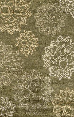 Momeni Rugs ZEN00ZEN-4OLV2380 Zen Collection, Wool & Banana Silk Hand Tufted Contemporary Area Rug, 2'3