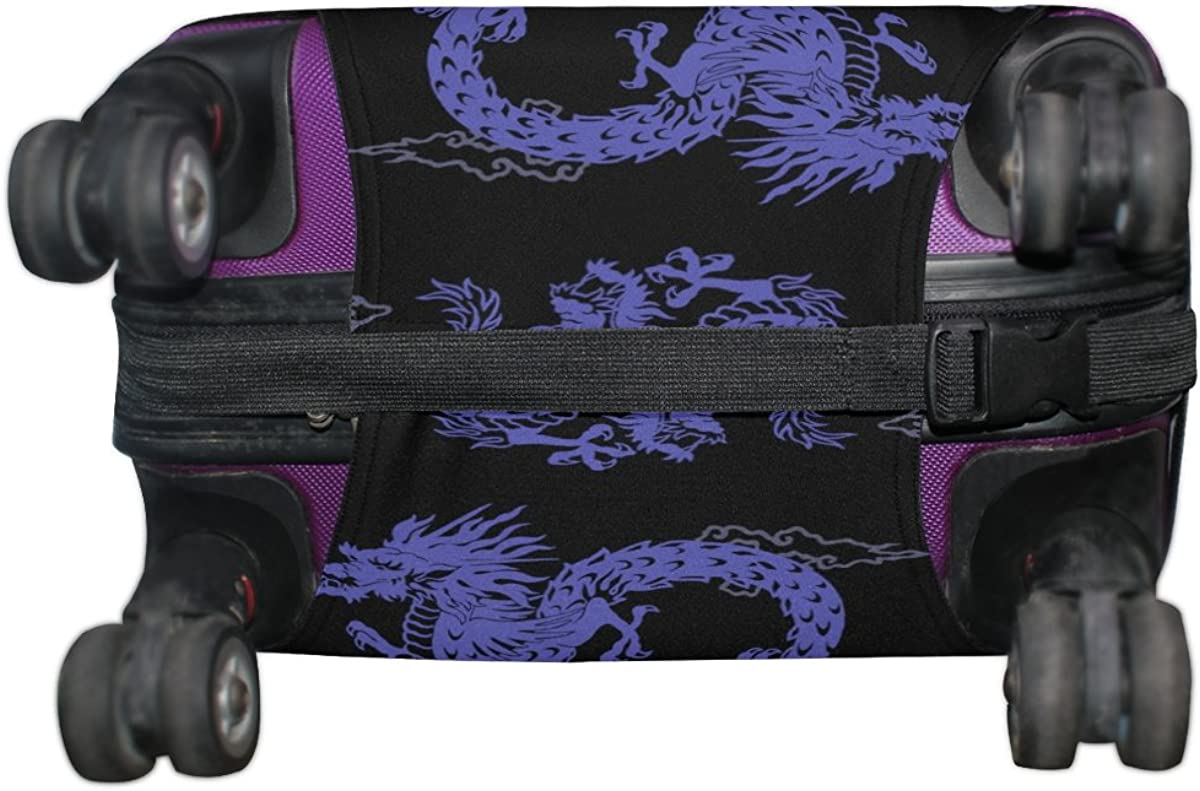 LAVOVO Purple Japanese Dragon Luggage Cover Suitcase Protector Carry On Covers