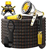"2. TBI Pro Expandable Garden Hose 50ft - 2020 Super Durable 3750D / 4-Layers Latex / 3/4"" Solid Brass Connectors / 10-Way Professional Zinc Water Spray Nozzle, 2-Way Pocket Flexible Splitter (50 Feet)"