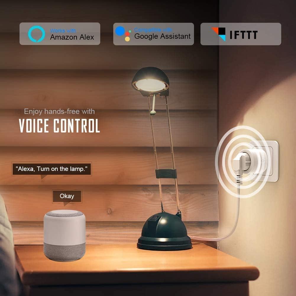 Contr/ôle par Application /à Distance,Hub Non requis Prise Connect/ée WiFi TOPESEL Prise Intelligente Compatible avec Alexa Google Home et IFTTT 2 Pack 2 Lot de Prises Fonction de minuterie