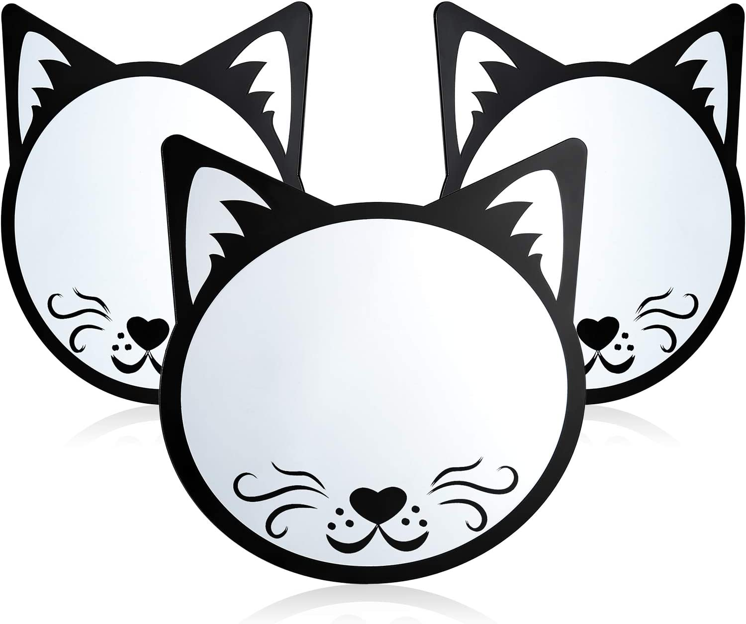 3 Pieces Magnetic Locker Mirrors Cute Cat Magnetic Mirror Cat Shape Magnetic Mirrors for School Locker Household Refrigerator Bathroom (Black)
