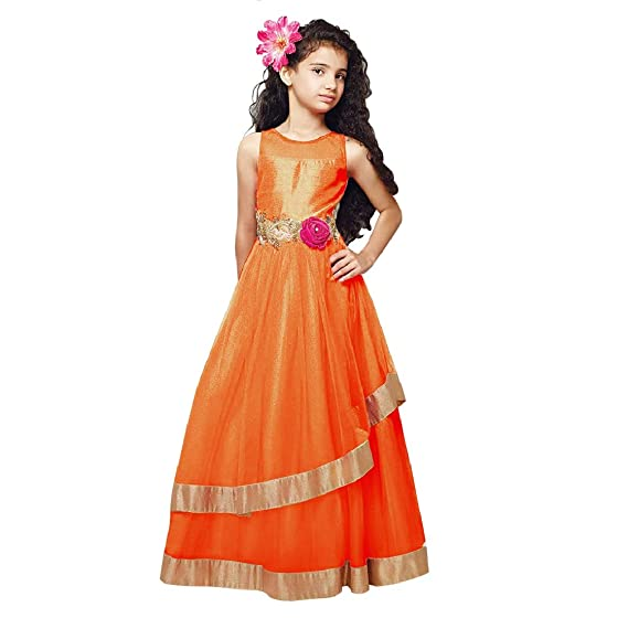 170bc625b Cartyshop Girl s Orange Net Embroidery Anarkali Flared Readymade ...