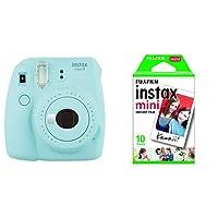 Fujifilm Instax Mini 9 Ice Fotocamera per Stampe, Formato 62 x 46 mm, Azzurro + Instax Mini Film Pellicola Istantanea per Fotocamere Instax Mini, Formato 46x62 mm, Confezione da 10 Foto