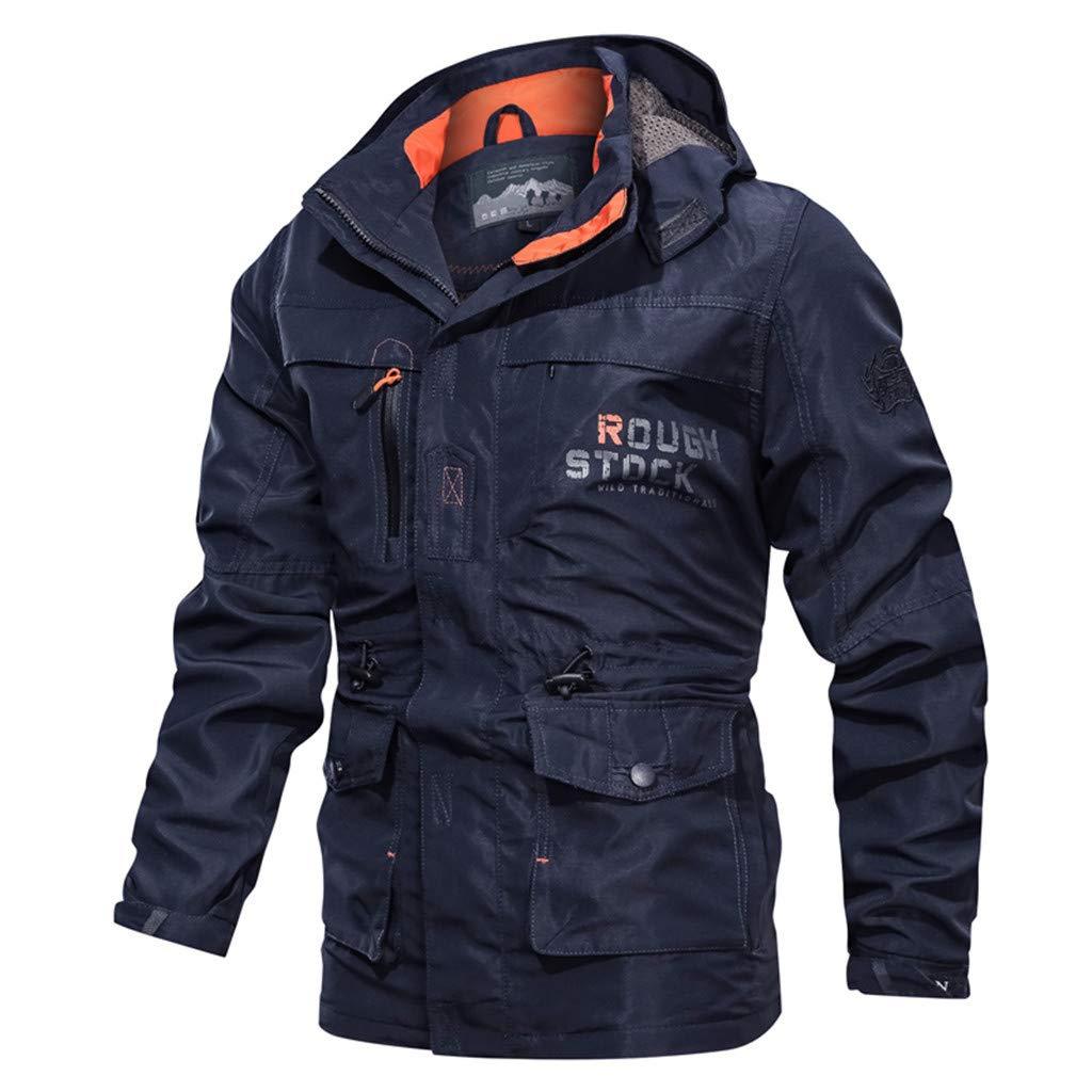 Men's Hooded Outdoor Jacket, NDGDA Male Casual Autumn Winter Long Sleeve Zipper Fleece Outdoor Jacket Coat