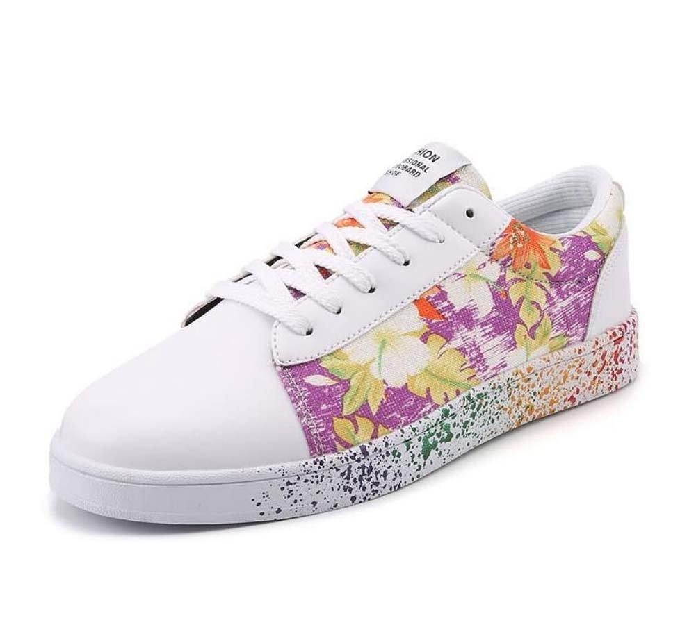 Unisex Bomba Placa Zapatos Pareja Casual Zapatos Colormatch Encajes hasta Impresión Slip En Snekers UE Tamaño 36-47,Purple,44EU 44EU|Purple