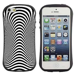"""Pulsar iFace Series Tpu silicona Carcasa Funda Case para Apple iPhone SE / iPhone 5 / iPhone 5S , Modelo de la cebra óptica hipnótica vista Diseño"""""""