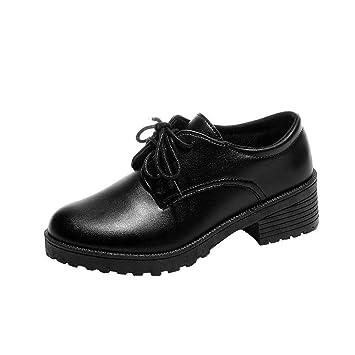 ZHRUI Botas Zapatos de Mujer Botas de Mujer Tobillo de Moda Oxford Plana Zapatos Casuales de ...
