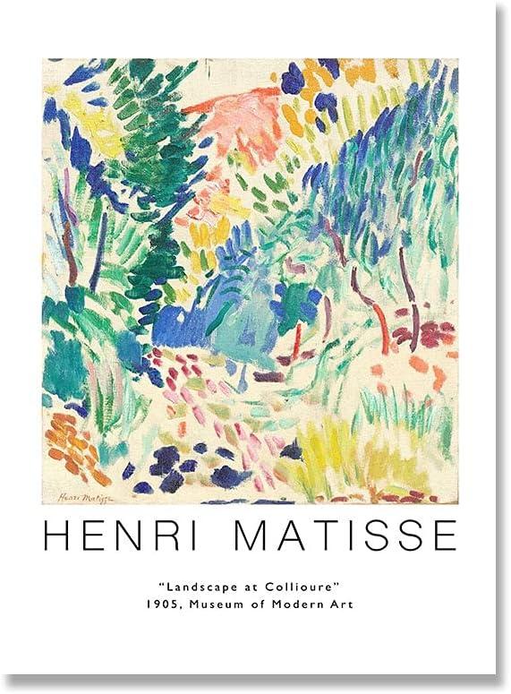 Cartel de geometría de curva abstracta, carteles e impresiones de estilo colorido de Matisse, artista de pared, casa, lienzo sin marco, pintura A4 15x20cm