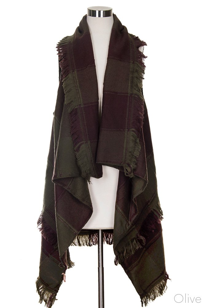 ScarvesMe Women's Soft Vintage Plaid Checker Color Block Vest Cardigan (Olive)